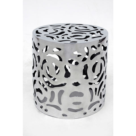 Allan Copley Designs Cozumel Round End Table in Polished Cast Aluminum