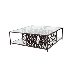 Allan Copley Designs Cracked Ice Cocktail Table in Leaded Dark Bronze