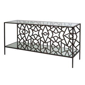 Allan Copley Designs Cracked Ice Console Table in Leaded Dark Bronze