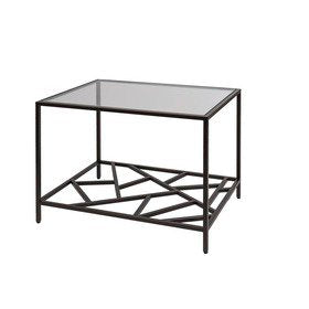 Allan Copley Designs Cracked Ice End Table in Leaded Dark Bronze