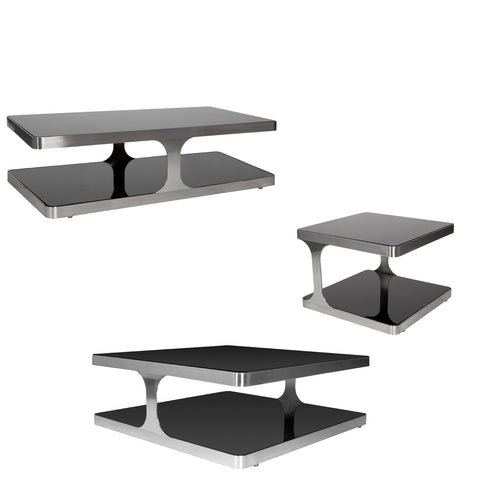 Allan Copley Designs Diego 3 Piece Coffee Table Set in Stainless Steel