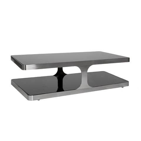 Allan Copley Designs Diego Rectangular Cocktail Table w/ Black Glass Top & Shelf in Stainless Steel
