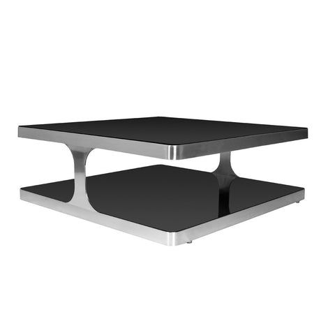 Allan Copley Designs Diego Square Cocktail Table w/ Black Glass Top & Shelf in Stainless Steel