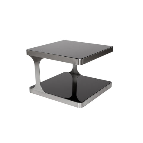 Allan Copley Designs Diego Square End Table w/ Black Glass Top & Shelf in Stainless Steel