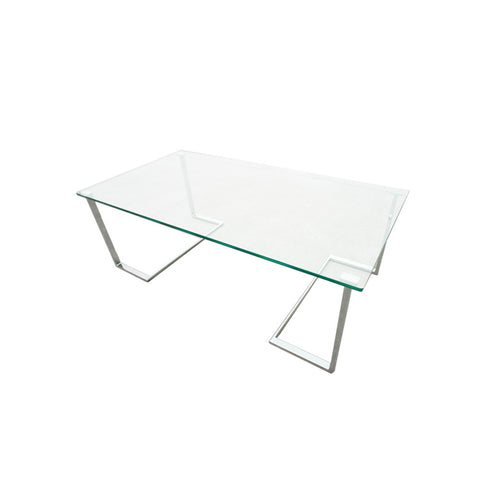 Allan Copley Designs Edwin Rectangular Cocktail Table w/ Glass Top on Chrome Plated Base in Chrome