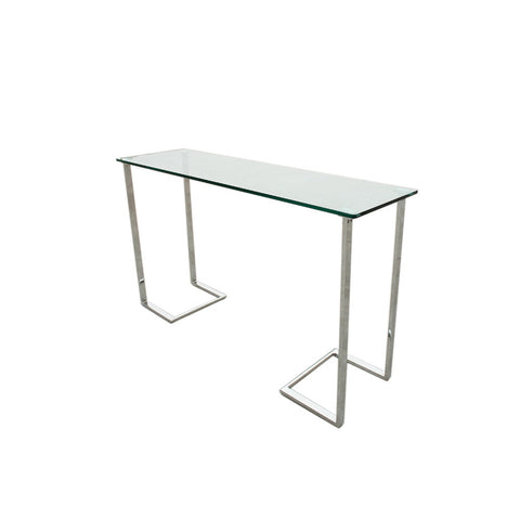 Allan Copley Designs Edwin Rectangular Console Table w/ Glass Top on Chrome Plated Base