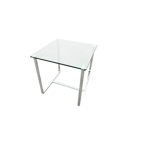 Allan Copley Designs Edwin Square End Table w/ Glass Top on Chrome Plated Base