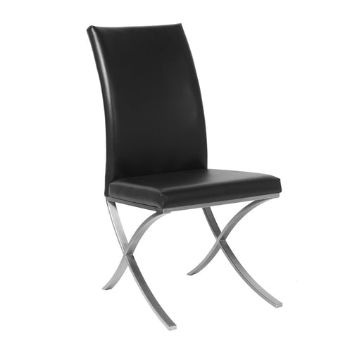 Allan Copley Designs Emma Set of Two Dining Chairs in Black Leatherette w/ Polished Stainless Steel Frame