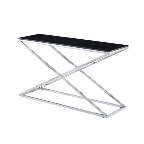Allan Copley Designs Excel Rectangular Console Table w/ Black Glass Top on Polished Stainless Steel Base