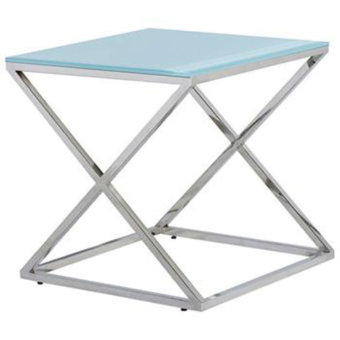 Allan Copley Designs Excel Square End Table w/ Clear Glass Top on Polished Stainless Steel Base