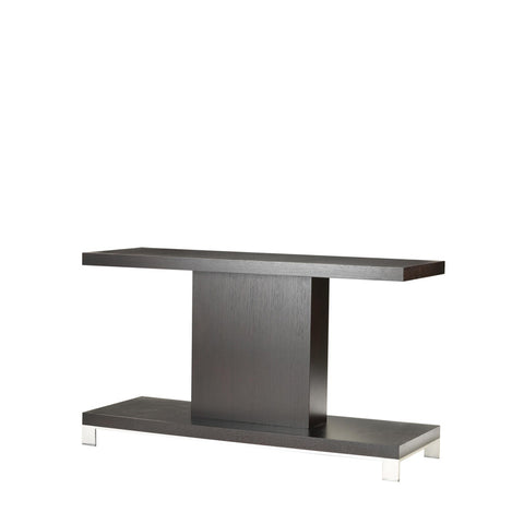 Allan Copley Designs Force Rectangular Console Table in Mocha on Oak w/ Brushed Stainless Steel Accents
