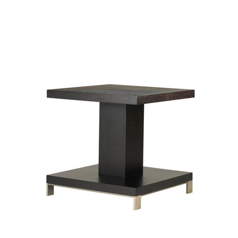 Allan Copley Designs Force Square End Table in Mocha on Oak w/ Brushed Stainless Steel Accents