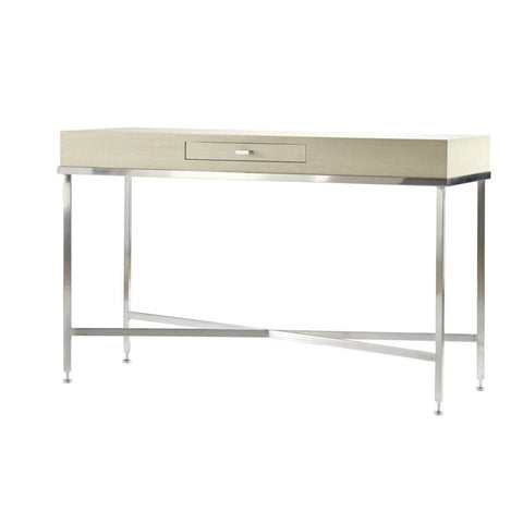 Allan Copley Designs Galleria Rectangular Console Table w/ Drawer w/ White on Ash Top on Brushed Stainless Steel Base