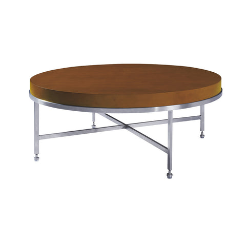 Allan Copley Designs Galleria Round Cocktail Table w/ Latte on Birch Top on Brushed Stainless Steel Base