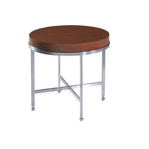 Allan Copley Designs Galleria Round End Table w/ Latte on Birch Top on Brushed Stainless Steel Base