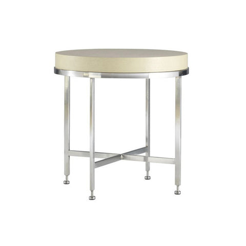 Allan Copley Designs Galleria Round End Table w/ White on Ash Top on Brushed Stainless Steel Base
