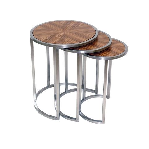 Allan Copley Designs Greta Set of Three Round Nesting End Tables w/ Zebrawood Top & Satin Nickel Base in