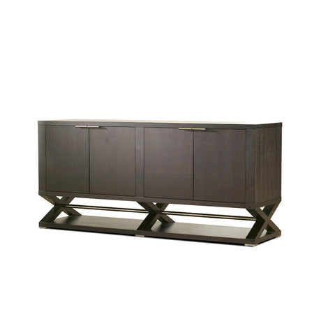 Allan Copley Designs Halifax 4-Door - 4-Drawer - 2-Shelf Buffet in Expresso w/ Brushed Stainless Steel Accents