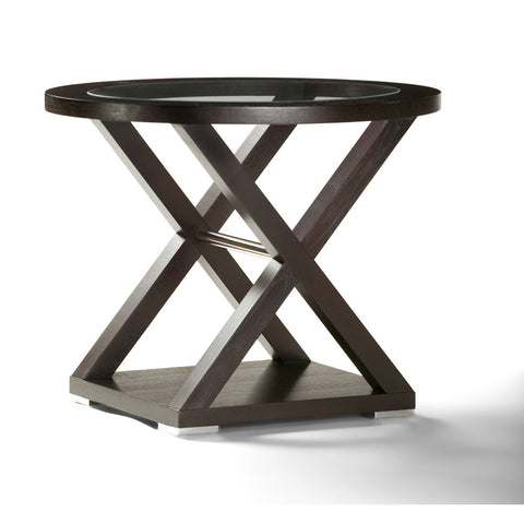 Allan Copley Designs Halifax Oval Glass Top End Table in Espresso w/ Brushed Stainless Steel Accents