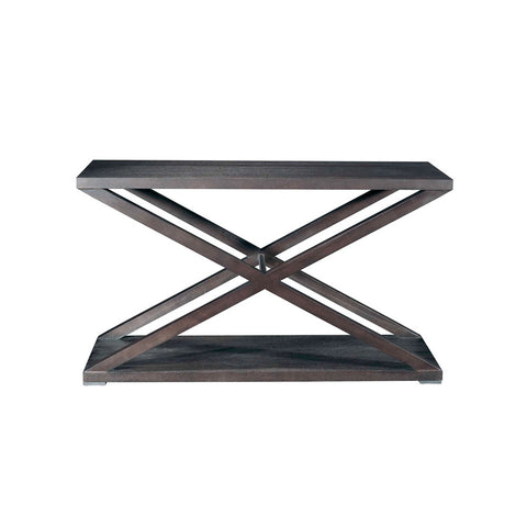 Allan Copley Designs Halifax Rectangular Console Table in Espresso w/ Brushed Stainless Steel Accents