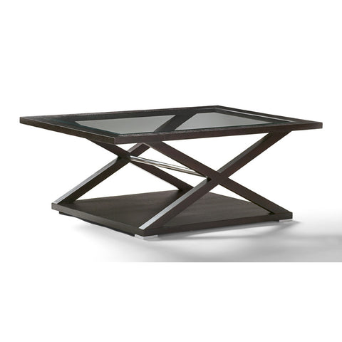 Allan Copley Designs Halifax Rectangular Glass Top Cocktail Table in Espresso w/ Brushed Stainless Steel Accents