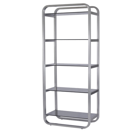 Allan Copley Designs James 5-Shelf Bookcase w/ Smoke Gray Glass Shelves in Stainless Steel