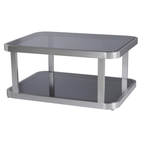 Allan Copley Designs James Rectangular Cocktail Table w/ Smoked Gray Glass Top & Shelf in Stainless Steel