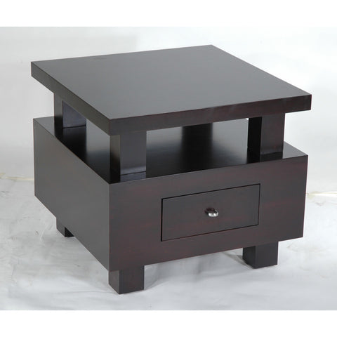 Allan Copley Designs Lexington 1-Drawer Square End Table w/ Mid-Shelf in Expresso Finish in Espresso