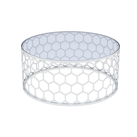Allan Copley Designs Melissa Round Cocktail Table w/ Glass Top in Stainless