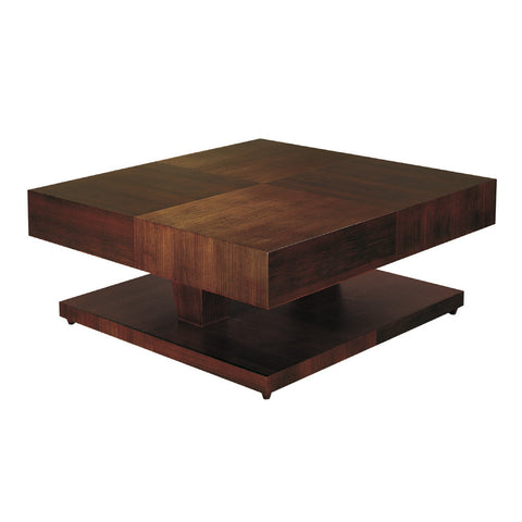 Allan Copley Designs Sarasota Square Cocktail Table w/ Pedestal Base in Walnut