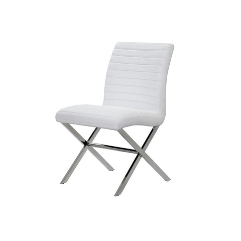 Allan Copley Designs Sasha Set of Two Dining Chairs in White Leatherette w/ Polished Stainless Steel Frame