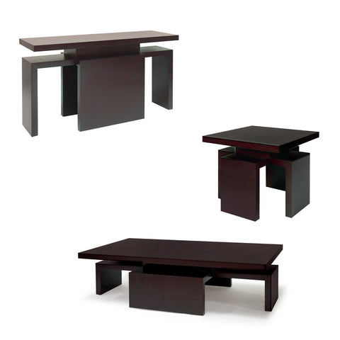 Allan Copley Designs Sebring 3 Piece Coffee Table Set in Mocha on Oak
