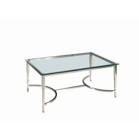Allan Copley Designs Sheila Rectangular Glass Top Cocktail Table in Brushed Stainless Steel