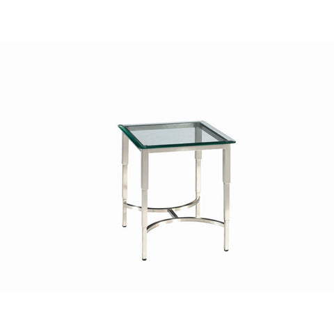 Allan Copley Designs Sheila Square Glass Top End Table in Brushed Stainless Steel
