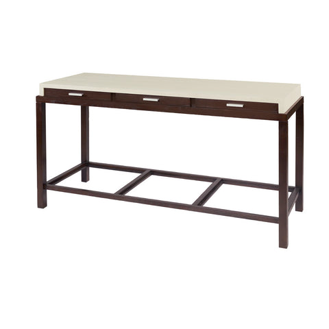 Allan Copley Designs Spats 3-Drawer Rectangular Console Table in Espresso w/ White on Ash Top