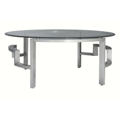 Allan Copley Designs Stella Round Cocktail Table w/ Glass Top on Brushed Stainless Steel Base