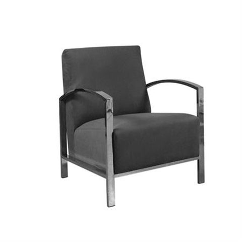 Allan Copley Designs Teresa Lounge Chair in Black Fabric w/ Polished Stainless Steel Frame