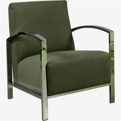 Allan Copley Designs Teresa Lounge Chair in Green Fabric w/ Polished Stainless Steel Frame