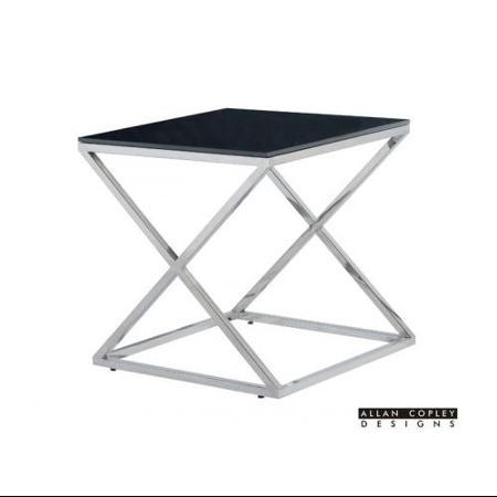Allan Copley Excel End Table In Polished Stainless Steel