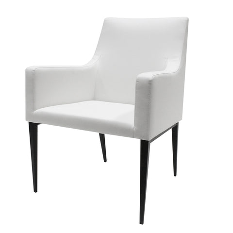 Allan Copley Lauren Dining Chair with Ivory White Leatherette fabric