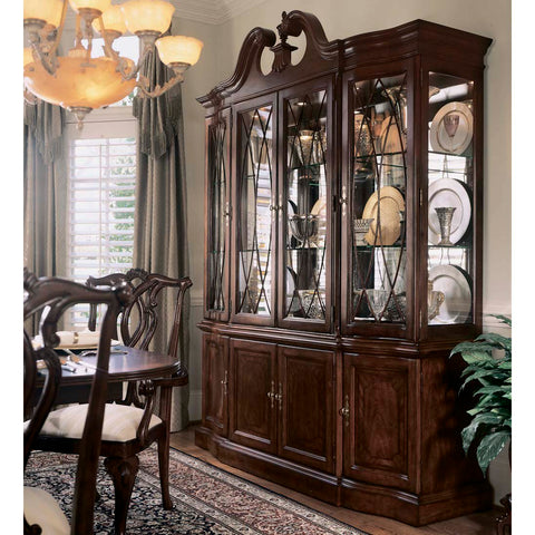 American Drew Cherry Grove Breakfront China Cabinet in Antique Cherry