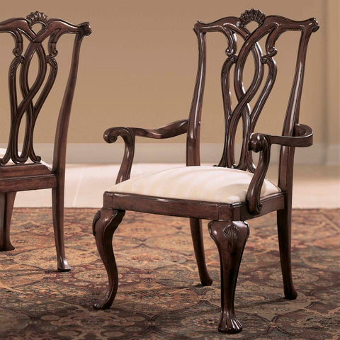 American Drew Cherry Grove Pierced Back Arm Chair in Antique Cherry