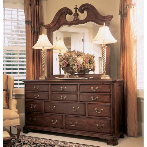 American Drew Cherry Grove Triple Dresser w/ Mirror in Antique Cherry