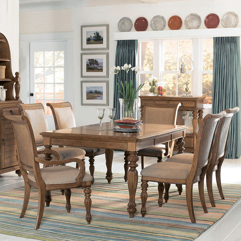 American Drew Grand Isle 8 Piece Leg Dining Room Set in Amber
