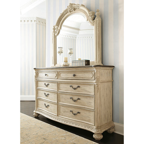 American Drew Jessica McClintock Boutique 8 Drawer Dresser w/ Mirror in White Veil