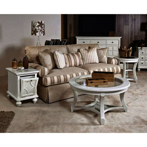 American Drew Lynn Haven 3 Piece Glass Coffee Table Set