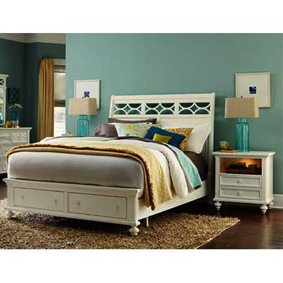 American Drew Lynn Haven 3 Piece Sleigh Bedroom Set w/Storage Footboard