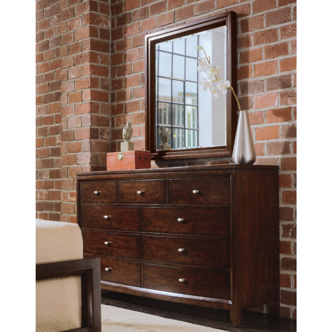 American Drew Tribecca Dressing Chest w/ Landscape Mirror in Root Beer