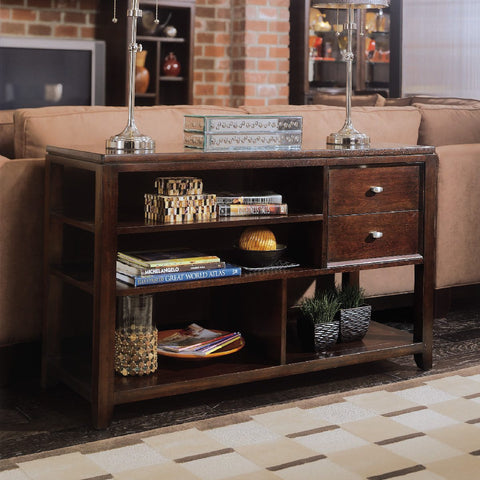 American Drew Tribecca Sofa Table in Root Beer Color