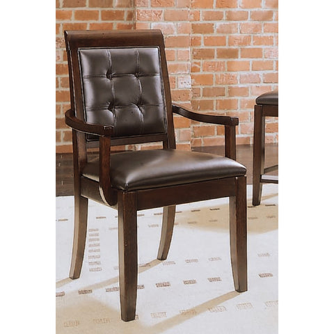 American Drew Tribecca Upholstered Leather Arm Chair-KD in Root Beer